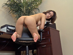 Hairy woman Viola Star in the office