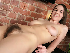Hairy Claire plays with her perfect pussy