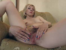 Sandy May strokes hairy body after getting naked