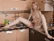 A sexy Sky Nikka strips naked in her kitchen