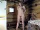 Malta strips naked in her wooden cabin