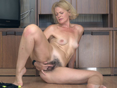 Diana Douglas does her workout and then plays nude