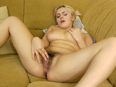 Lena touching her hairy pussy